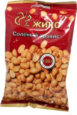 Арахис обжаренный с солью ЖИКО, 130 гр., флоу-пак