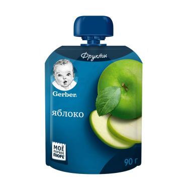 Пюре фруктовое Яблоко (первая ступень),  Gerber, 90 гр., дой-пак с дозатором