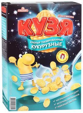 Хлопья кукурузные глазированные сахарной глазурью Русскарт Кузя Лакомкин 250 гр., картон