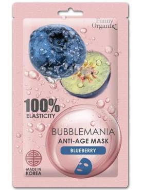 Кислородная тканевая антивозрастная маска дикая черника  Organix Bubble Mania, Funny, 25 гр., сашет