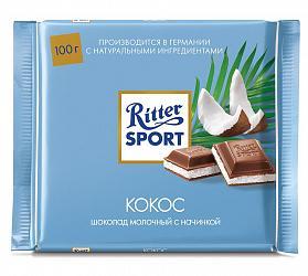Шоколад молочный, кокос, , Ritter Sport, 100 гр., флоу-пак