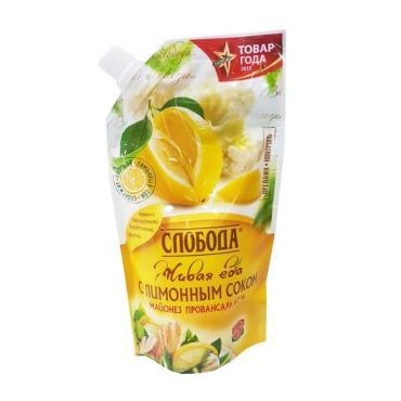 Майонез с лимонным соком 67% Слобода Провансаль, 230 мл., дой-пак с дозатором