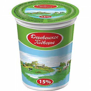 Продукт со сметаной, с з.м.ж. на закваске 15% Деревенское Подворье, 330гр., пластиковый стакан