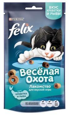 Лакомство для кошек с креветкой и рыбой Felix Веселая охота, 50 гр., дой-пак