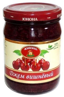 Джем фруктовый вишневый Юнона, 310 гр., стекло