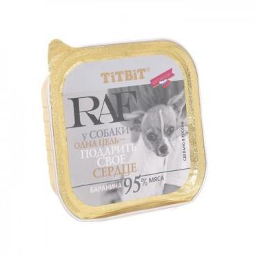 Консервы для собак Баранина, TitBit RAF, 100 гр., пластиковая упаковка