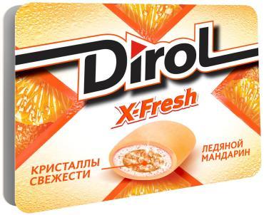 Жевательная резинка Dirol X-Fresh ледяной мандарин без сахара16 гр., картон