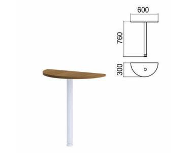 Стол приставной полукруг, 600х300 мм., без опоры, орех Арго, картон