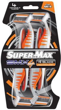 Одноразовый станок Super-Max SMX 4 лезвия 4шт