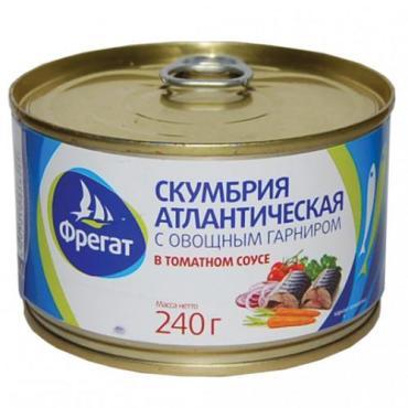 Скумбрия Фрегат с овощным гарниром в томатном соусе, 240 гр., ж/б