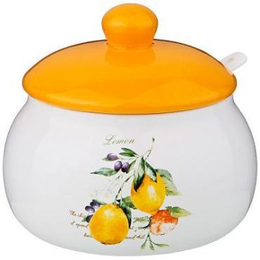 Банка для сыпучих продуктов, с ложкой, оранжевый, 500 мл., 13х11,6 см., Lefard Итальянские лимоны