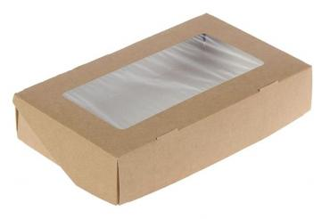 Коробка одноразовая картонная Doeco Eco tabox pro с окном, цвет коричневый 1450 260х150х40 мм., Россия