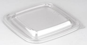 Крышка одноразовая пластиковая Unity Coffee Кубик прозрачная для контейнера 126х126х13 мм., 500 шт,, флоу-пак