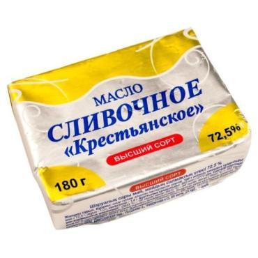 Масло сливочное Айсберг-Люкс Крестьянское, 180 гр., обертка фольга/бумага