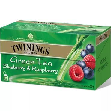 Чай Twinings зеленый с ароматом черники и малины 25 пакетиков, 50 гр., картон
