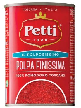 Соус Petti Полпа Финиссима натуральный томатный для пиццы веганский, 400 гр., ж/б