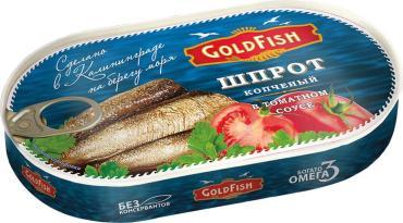 Шпроты Gold Fish копченые в томатном соусе, 175 гр., ж/б