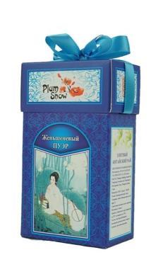 Чай Plum Snow Пуэр черный женьшеневый листовой, 100 гр., картон