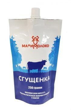 Молоко сгущенное МариМолоко с сахаром 8,5%, 250 гр., дой-пак