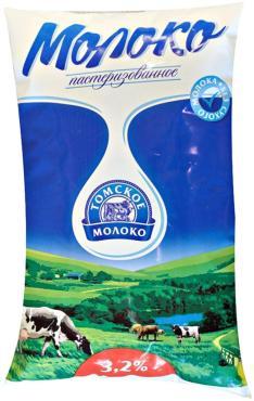 Молоко Томское Молоко, пастеризованное 2,5%, 900 гр., пакет