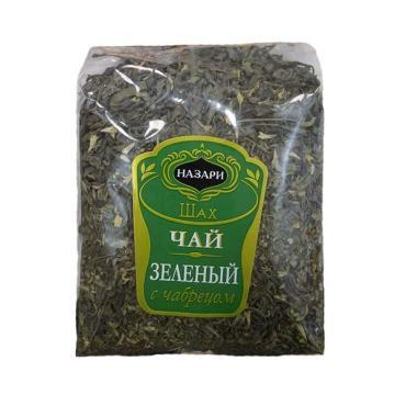 Чай НАЗАРИ Шах ЧАЙ Зеленый байховый крупнолистовой с чабрецом, 200 гр., флоу-пак