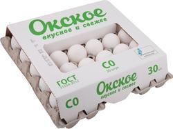 Яйцо куриное Окское столовое С0 белое, 30 шт., картон