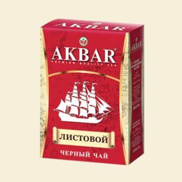 Чай Akbar черный байховый листовой, 90 гр., картон