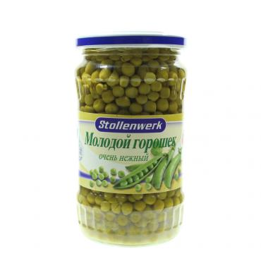 Горошек Stollenwerk Зеленый молодой очень нежный, 370 гр., стекло
