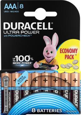 Батарейки Duracell Ultra Power ААА LR03-8BL Alkaline 8шт.