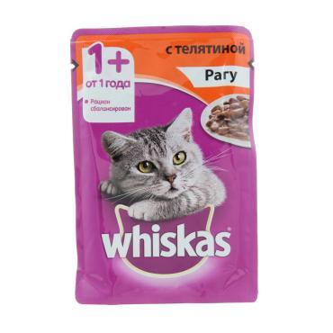Корм влажный для взрослых кошек рагу с телятиной Whiskas 85 гр. Дой-пак