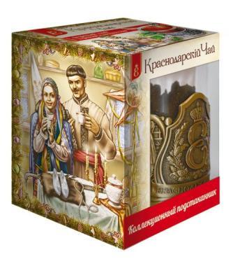 Чай Века Военный, краснодарский черный листовой чай, коллекционный подстаканник, 30 гр., картон