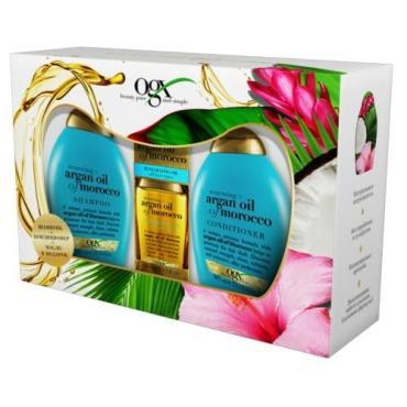 Подарочный набор OGX Шампунь восстанавливающий с аргановым маслом Марокко, Кондиционер восстанавливающий с аргановым маслом Марокко, Масло для волос