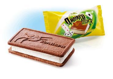 Мороженое Сендвич Джокер Блек шоколадное печенье, КОЛИБРИ