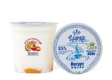 Йогурт с наполнитеоем Персик-Маракуйя 3,5%, ЦарКа, 400 гр, ПЭТ