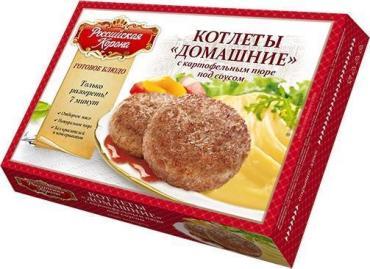 Готовое блюдо Российская корона Котлеты Домашние с картофельным пюре под соусом