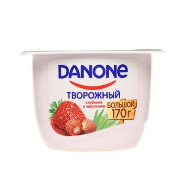 Продукт творожный Клубника земляника 3,6%,  Danone, 170 гр., пластиковый стакан