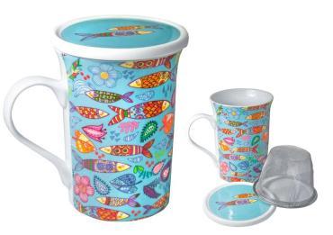 Чай черный ИМЧ FBOP Чашка Рыбы с крышкой и ситечком