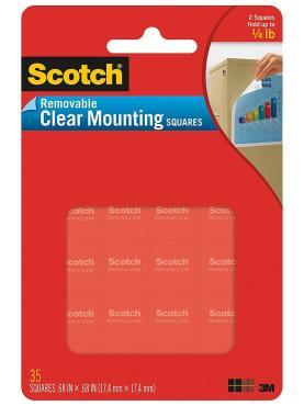 Квадраты клейкие Scotch Прозрачные удаляемые для плакатов 17х17мм
