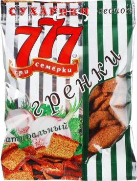 Сухарики гренки ржано-пшеничные со вкусом чеснока, Три семёрки, 50 гр, флоу-пак