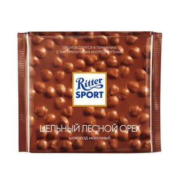 Шоколад Ritter Sport молочный с цельным лесным орехом