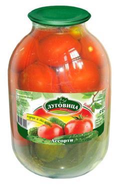 Овощная консерва Луговица Ассорти огурцы и томаты