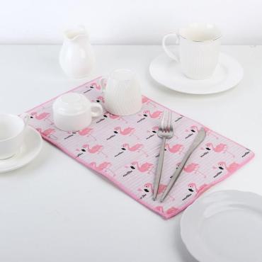 Коврик для сушки посуды Доляна Фламинго 25х40 см. лен