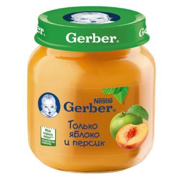 Пюре Gerber Яблоко и персик с 5 месяцев