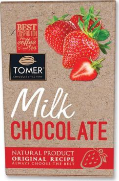 Шоколад молочный с клубникой, Tomer, 90 гр., картонная коробка