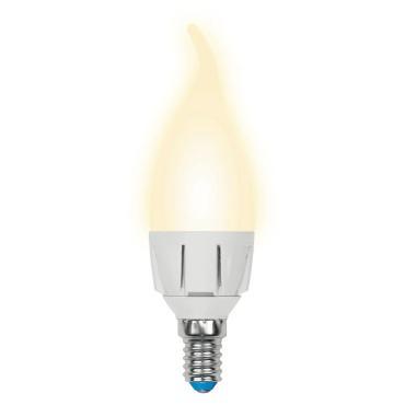 Лампа светодиодная форма свеча на ветру, матовая, серия Palazzo, теплый белый свет, LED-CW37-7W/WW/E14/FR PLP01WH, Uniel, картонная коробка