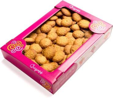 Печенье сдобное с кунжутом Сладофф Грильяжные пуговки, 400 гр., картонная коробка