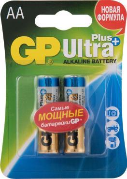 Батарейки алкалиновые AA GP Ultra Plus 15AUP-2CR2, 2 шт., блистер
