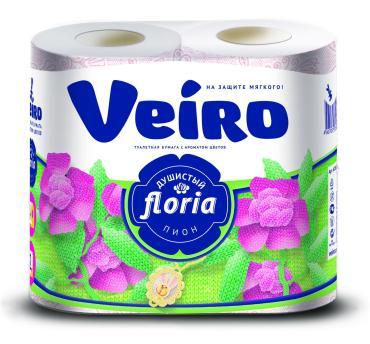 Бумага туалетная Veiro Floria Душистый пион Ароматизированная 2 слоя 4шт.