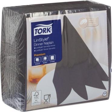 Салфетка Tork LinStyle Dinner Napkin черная 39х39см. 1 слой 50шт.