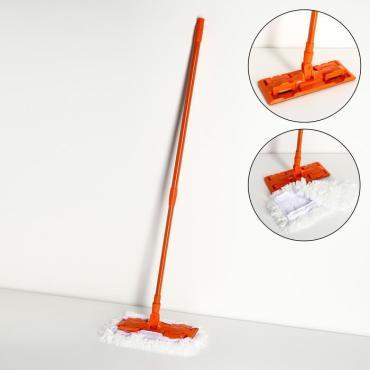 Швабра для пола Доляна плоская телескопическая ручка 82-129 см. широкая насадка из микрофибры микс